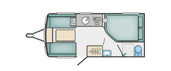 Layout of 4 berth fixed bed caravan